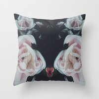 vintage flowers Throw Pillows featuring Vintage Flowers by C O R N E L L