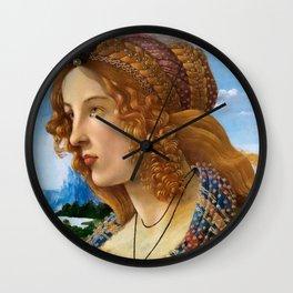 """Sandro Botticelli """"Allegorical Portrait of a Lady (Simonetta Vespucci ?)"""" Wall Clock"""