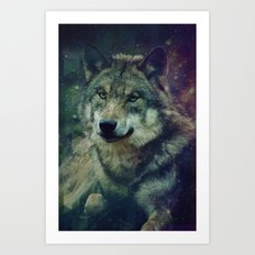 WOLF II colored Art Print