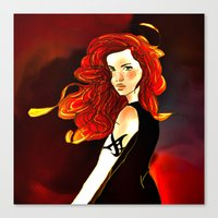 the mortal instruments Canvas Prints featuring Clary Fray from The Mortal Instruments by Cassandra Clare by Amitra Art