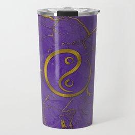Golden Embossed Yin yangsymbol  on purple Travel Mug