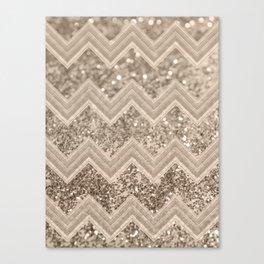 Sepia Glitter Chevron #1 #shiny #decor #art #society6 Canvas Print