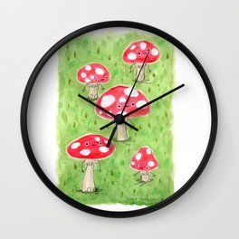 Sentient Mushrooms Wall Clock