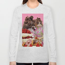 PINK CHOCOLATE & STRAWBERRY TEA TIME Long Sleeve T-shirt