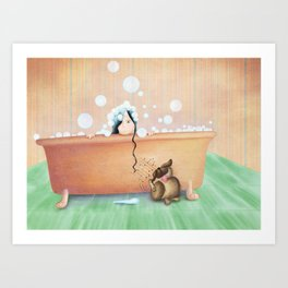 Bath Time! Art Print