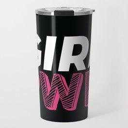 GRL PWR Hot Pink Typography Travel Mug
