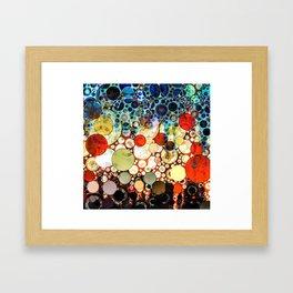 Abstract Retro Blue Orange Bubble Design Framed Art Print