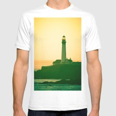 Lighthouse (2) MEDIUM White Mens Fitted Tee
