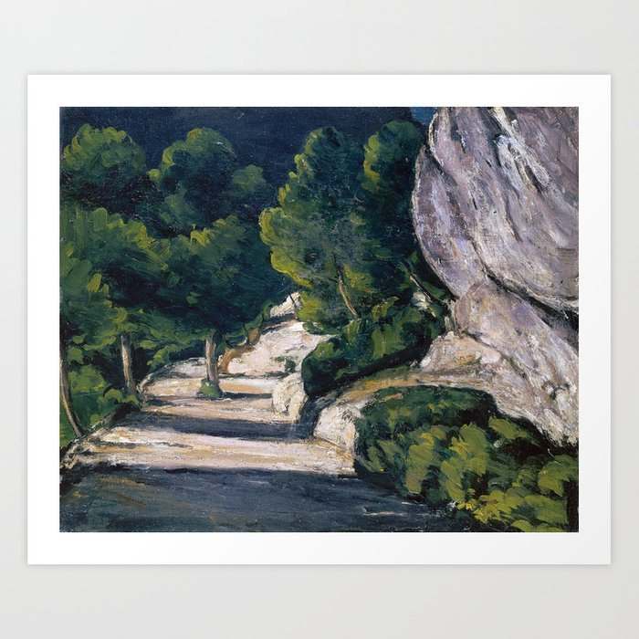 1870 - Paul Cezanne - Landscape. Road with Trees in Rocky Mountains Art Print