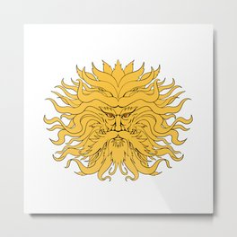 Helios Greek God of Sun Head Drawing Color Metal Print