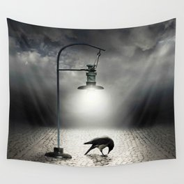 crow lonely in the street Wall Tapestry