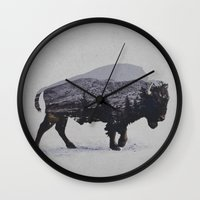 running Wall Clocks featuring The American Bison by Davies Babies