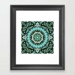 Elegant Turquoise Floral Fractal Framed Art Print