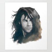kili Art Prints featuring Kili BnW by brilcrist
