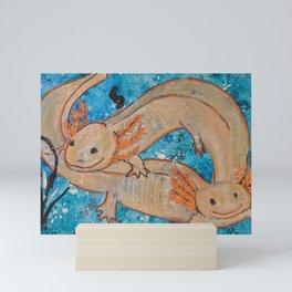 Axolotls  Mexican Salamander Walking Fish Mini Art Print