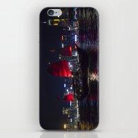 hong kong iPhone & iPod Skins featuring Sampan of Hong Kong by Deborah Janke