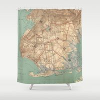 jamaica Shower Curtains featuring Vintage Map of Jamaica Bay and Brooklyn NY (1891) by BravuraMedia