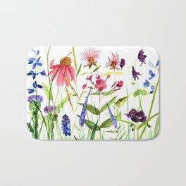 Botanical Colorful Flower Wildflower Watercolor Illustration Bath Mat