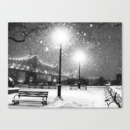 New York City Night Snow Canvas Print