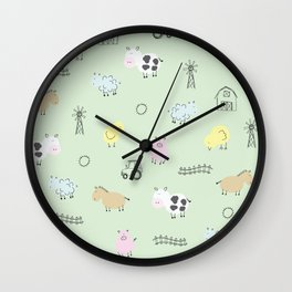 Cute Little Farm Animals Wall Clock