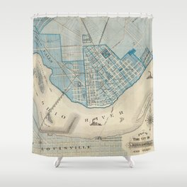 Vintage Map of Jefferson Indiana (1876) Shower Curtain