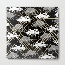 Geometrical faux gold black white floral pattern Metal Print
