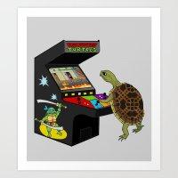 ninja turtle Art Prints featuring Arcade Ninja Turtle by Michowl