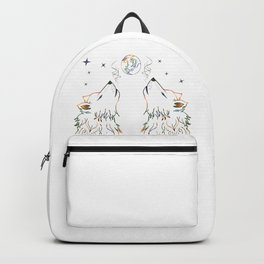 Two wolves howling Backpack