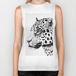 Watercolor Leopard (Black and White) Biker Tank