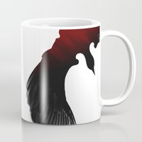 edgar allen poe Mugs featuring Edgar Allen Poe and the Raven by The Herald Project