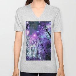 Black Trees Lavender Pink Blue Space Unisex V-Neck