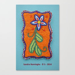Daisy Flower Beaded Medallion Canvas Print