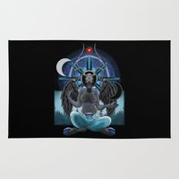 baphomet Area & Throw Rugs featuring Seasons Greetings by 5th Aeon