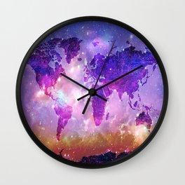 world map galaxy sky Wall Clock