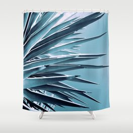 Palm Rays - Duotone Black and Teal Shower Curtain