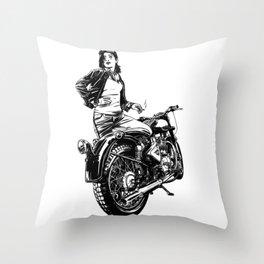 Woman Motorcycle Rider Throw Pillow