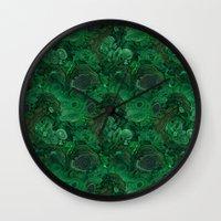 malachite Wall Clocks featuring malachite by ravynka