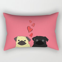 Pugs In Love Pink Rectangular Pillow