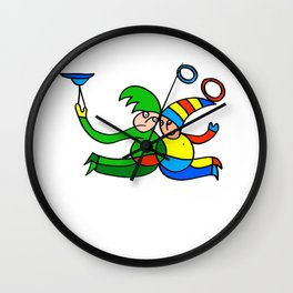 Twin Jugglers in Color for Kids Wall Clock