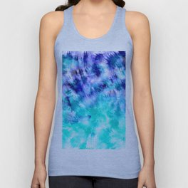 modern boho blue turquoise watercolor mermaid tie dye pattern Unisex Tank Top