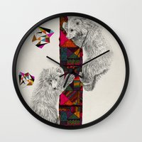 kris tate Wall Clocks featuring The Innocent Wilderness by Peter Striffolino and Kris Tate by Peter Striffolino