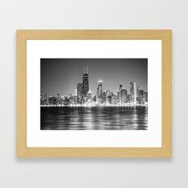 Chicago Skyline Black and White Framed Art Print