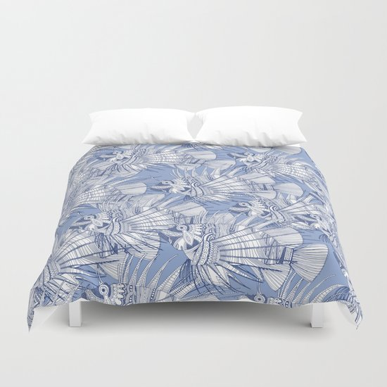 fish mirage blue Duvet Cover