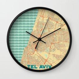 Tel Aviv Map Retro Wall Clock