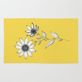 Wildflower line drawing | Botanical Art Rug
