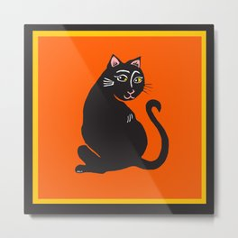 Black Cat with Orange Metal Print