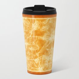 Mixed color Poinsettias 1 Outlined Orange Travel Mug