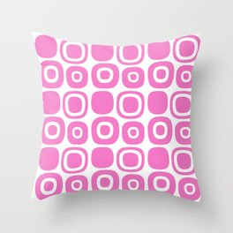 Mid Century Modern Garden Path Pattern 372 Pink Throw Pillow