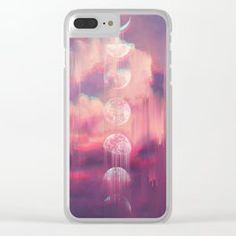 Moontime Glitches Clear iPhone Case