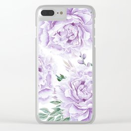 Pretty Purple Flower Garden Clear iPhone Case